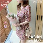 EASON SHOP(GW6353)韓版復古滿版小碎花薄腰間收腰大V領泡泡袖短袖下襬傘狀A字連身裙洋裝短裙膝上裙