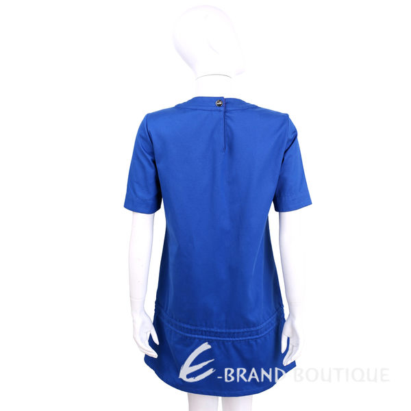 LOVE MOSCHINO 藍色拼接拉繩設計棉質短袖洋裝 1620165-23