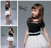 短袖洋裝  韓版女童蕾絲公主連衣裙黑白拼接 S57011