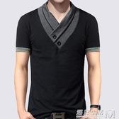 夏季男士短袖t恤男裝純棉撞色V領半袖上衣服加肥加大碼休閒體恤潮 雙十一全館免運