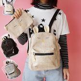 日系軟妹卡通雙肩包韓版chic原宿風棉麻簡約小背包二件套後背包包 【限時八五折】