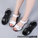 FINDSENSE品牌 新款 日本 女 高品質 真皮 簡約 黑白 舒適 時尚涼鞋