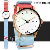 HyperGrand / NWM4MALI / Nato Malibu 加州陽光極簡工業風日期藝術印花尼龍手錶 白x玫瑰金框x桃紅藍 44mm