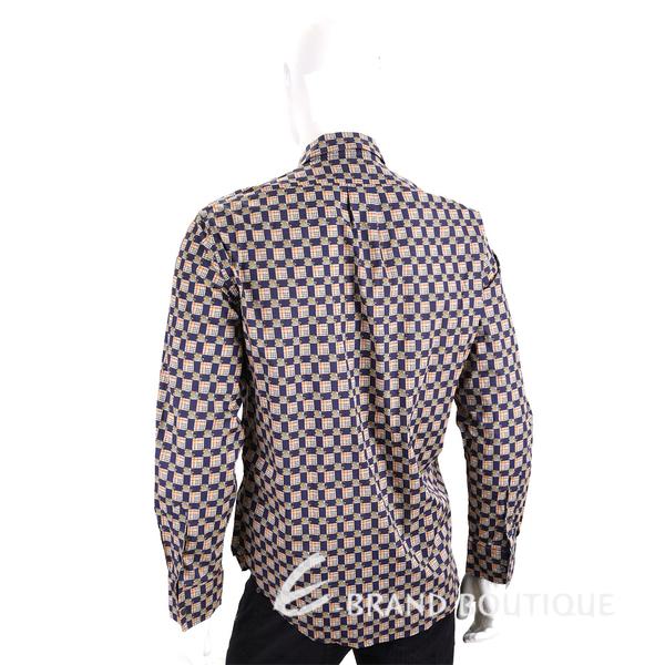 BURBERRY 騎士圖騰海軍藍格紋長袖襯衫 1910206-28