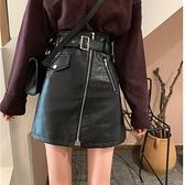 皮裙 大碼新款韓黑色高腰不規則半身裙秋冬女顯瘦小皮裙A字裙短裙 快速出貨