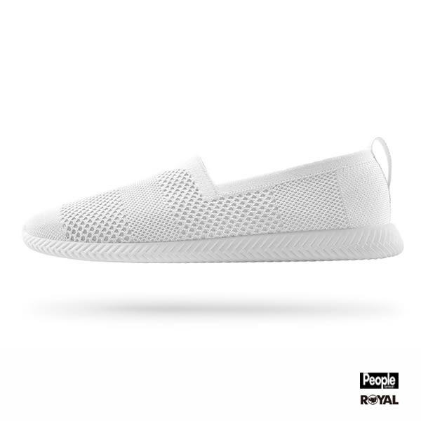 PEOPLE 新竹皇家 THE SPANNOS 白色 織布 透氣 輕量 懶人鞋 男女款 NO.A8779