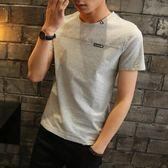 男士短袖t恤男裝上衣純色青少年圓領半袖白體恤潮    初語生活