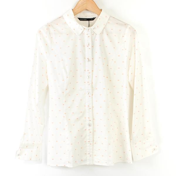 【MASTINA】小蝴蝶結印花設計襯衫- 白  冬末好康