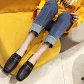 (快出)英倫風一腳蹬小皮鞋韓版百搭兩穿平底豆豆鞋單鞋女子