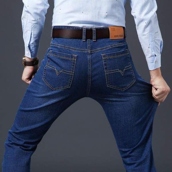 牛仔褲 夏季薄款長褲子男士牛仔褲男直筒寬 鬆休閒修身潮流百搭春秋季新款【快速出貨】