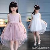 女童紗裙連身裙2020春裝新款兒童演出服女孩洋氣燕尾公主蓬蓬紗裙 美芭