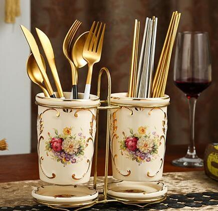 多功能筷子筒家用陶瓷餐具收納筷籠廚房置物架歐式瀝水雙筒筷子盒·享家生活館