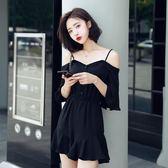 夏季新款公主遮肉套裝洋氣時髦大碼肥胖mm一字肩連衣裙 GB3479『樂愛居家館』