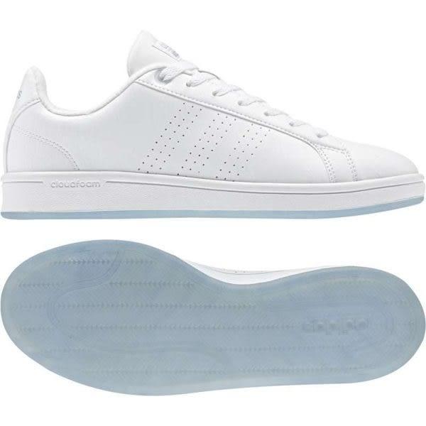 Adidas Advantage 女 全白 運動休閒鞋 滑板鞋 水晶底 愛迪達 CF CL休閒鞋 Cloudfoam CG5757