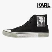 KARL LAGERFELD女鞋 KAMPUS II 傳奇KARL帆布高筒休閒運動鞋-黑
