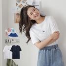 富士山櫻花繡圖短袖T恤上衣-BAi白媽媽【310124】