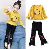 女童裝女童秋裝套裝2018新款正韓時髦潮衣秋季童裝洋氣兒童喇叭褲兩件套