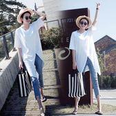短袖女2018新款韓系上衣寬鬆前開叉中長款大碼顯瘦百搭半袖t恤夏  巴黎街頭