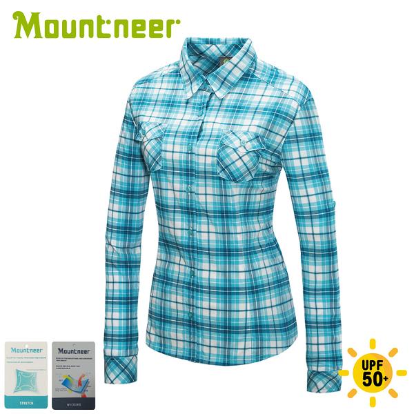 【Mountneer 山林 女 彈性抗UV格子長袖襯衫《海洋綠》】31B06/薄襯衫/防曬襯衫