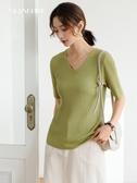 冰絲短袖t恤女2020夏新款韓版v領寬鬆純色簡約體恤坑條打底上衣潮