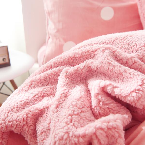 法蘭絨床包 冬日暖陽 豆沙粉 高品質 5尺標準雙人 兩用被毯 刷毛床包 不掉毛 不靜電 不起球 佛你