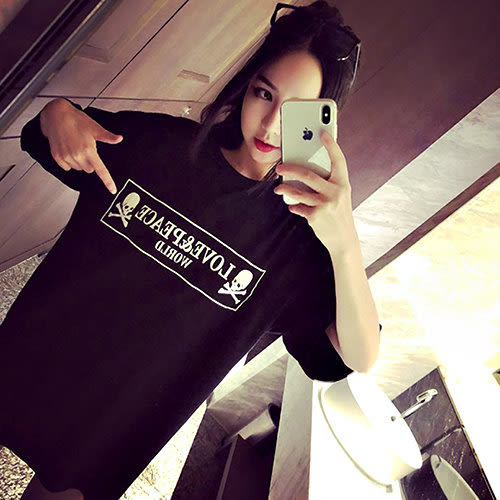 克妹Ke-Mei【AT42760】獨家自訂,歐美單!PEACE背後骷髏刺青寬鬆T恤洋裝
