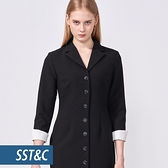 SST&C 女裝 黑色開襟反褶袖洋裝 | 8562010006