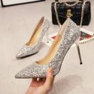 高跟鞋 百搭尖頭銀色水晶亮片高跟鞋女細跟性感網紅婚鞋新娘-Milano米蘭