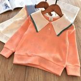 女童上衣 學院風女童大翻領全棉衛衣兒童寶寶針織打底衫韓版上衣2021春秋款-預熱雙11