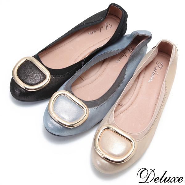 【Deluxe】柔樣女孩亮眼光澤鬆緊帶娃娃鞋(黑-金-藍)