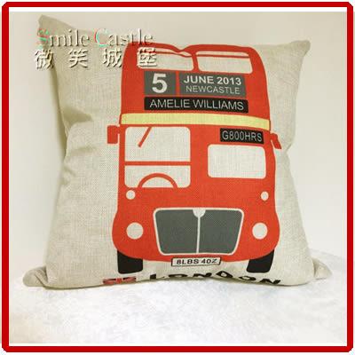 棉麻抱枕-倫敦巴士【含芯】45*45cm[英倫風格]靠枕 枕頭 帶拉鏈(下殺底價)【現貨免等】微笑城堡
