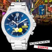 【名人鐘錶】INDEPENDENTx航海王海賊王聯名 騙人布限定款x藍面三眼錶・BA2-717-71・星辰副牌