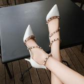 鉚釘涼鞋包頭一字扣細跟尖頭鏤空高跟鞋中跟 東京戀歌
