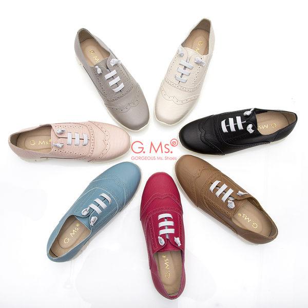 G.Ms. MIT超軟Q系列-牛津雕花假綁帶懶人鞋*桃紅