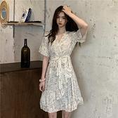 洋裝韓版小清新復古碎花V領綁帶洋裝女夏季收腰ins潮短袖洋裝