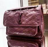■專櫃84折■ 全新真品■Saint Laurent 498894 中款 Niki 復古皺褶小牛皮兩用包 深紫紅