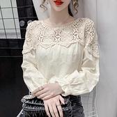 棉麻上衣 氣質長袖鏤空蕾絲衫女春裝新款正韓百搭寬鬆顯瘦刺繡棉麻上衣-Ballet朵朵