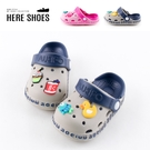 [Here Shoes](童鞋14-19)2cm涼鞋 休閒百搭可愛卡通 防水防雨平底圓頭兩穿涼拖鞋 雨鞋-AN2012