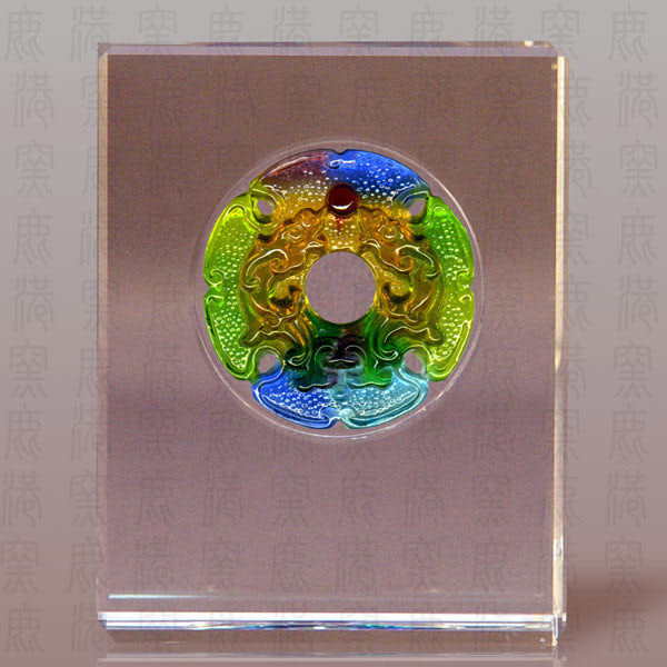 鹿港窯~居家開運S水晶鑲琉璃~雙龍戲珠◆附精美包裝 ◆附古法制作珍藏保證卡◆免運費送到家