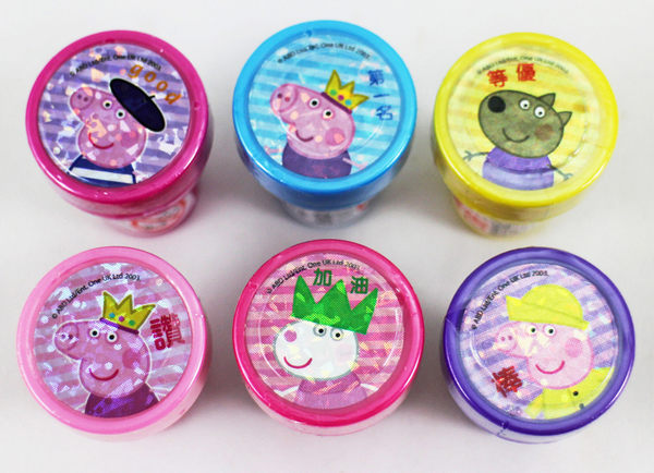 【卡漫城】 佩佩豬 印章 六顆組 角色條紋 ㊣版 peppa pig 粉紅 豬小妹 玩具 印章 獎勵 圖章 鼓勵
