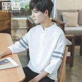 短袖襯衫男寬鬆韓版學生潮流七分袖白襯衣立領夏季休閒上衣 育心小館