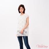 Victoria 假二件蕾絲長版寬鬆短袖T-女-V85417