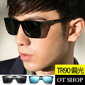 OT SHOP太陽眼鏡‧TR90方框金屬裝飾男款偏光墨鏡現貨亮黑/霧黑框全黑/亮黑框藍反光三色T46