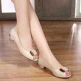 夏季低跟皮鞋粗跟魚嘴鞋女涼鞋白色淺口單鞋中跟職業百搭女鞋  檸檬衣舍