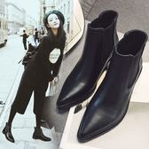 尖頭馬丁靴女 秋冬季新款韓版百搭學生側拉鏈中粗跟復古短筒靴 免運