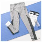 Catworld 側口袋拼接網紗高腰提臀彈力運動褲【12002060】‧S-XL