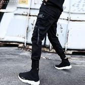 Free Shop 重磅新品 機能織帶傘兵褲 工裝拼接多口袋忍者褲 上寬下窄縮口褲 黑色 大尺碼【QTJK0120】