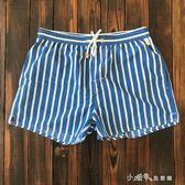 沙灘褲男海邊度假白色條紋短褲溫泉游泳褲三分褲帶內襯 小確幸生活館