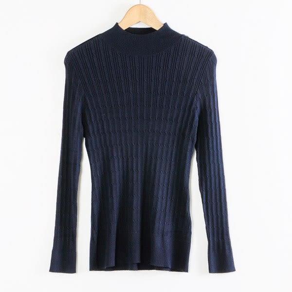 【MASTINA】微立領肩扣造型上衣-藍  秋裝限定嚴選