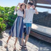 沙灘情侶裝韓版中長款連身裙海邊度假夏季短袖T恤男套裝『鹿角巷』
